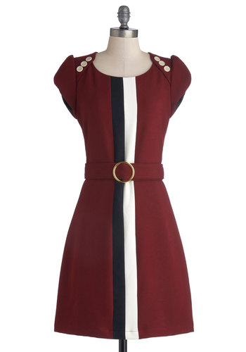 Office the Charts Dress by Knitted Dove - Red, Black, White, Buttons, Belted, Work, Shift, Cap Sleeves, Better, Scoop, Colorblocking, Woven, Mid-length