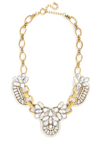 Any Way, Shape, or Formal Necklace - White, Solid, Rhinestones, Formal, Statement, Gold, Better, Cocktail, Gold, Holiday Party