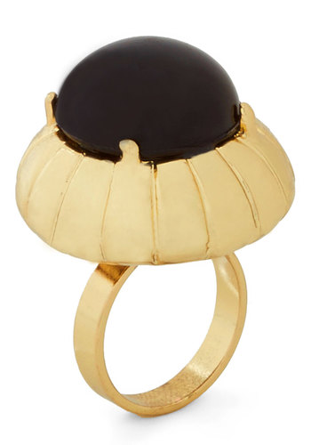 Around the Clock Ring - Black, Solid, International Designer, Statement, Gold, Cocktail, Vintage Inspired, 20s, 30s