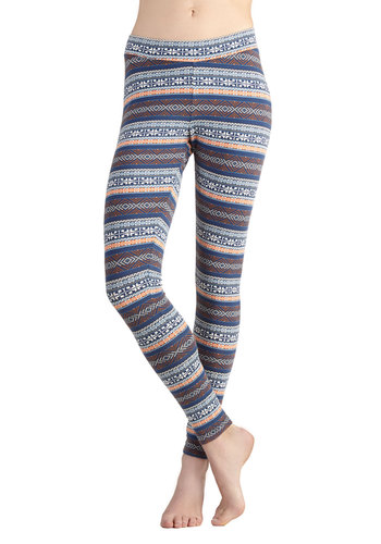 Enlivened Landscape Leggings by PACT - Multi, Stripes, Better, Jersey, Knit, Cotton, Casual, Eco-Friendly, Skinny, Winter, Folk Art