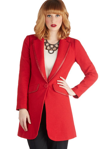 Executive Producer Coat - Woven, 2, Red, Solid, Buttons, Trim, Menswear Inspired, Long Sleeve, Good, Collared, Pockets, Work, Red, Long