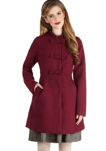 Writer's Block Party Coat by Jack by BB Dakota - Long, 3, Red, Solid, Bows, Pockets, Vintage Inspired, Long Sleeve, Better, Fall, Winter, Holiday Party, Red