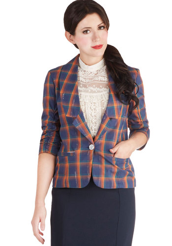 Sparkling Scholar Blazer - Cotton, Woven, Blue, Plaid, Buttons, Pockets, Ruching, Work, Scholastic/Collegiate, 3/4 Sleeve, Exclusives, Variation, Multi, Mid-length, 1
