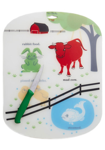 Barn to the Bone Cutting Board Set - Multi, Quirky, Good, Print with Animals