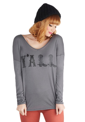 Southern Charmer Tee - Mid-length, Jersey, Sheer, Knit, Grey, Novelty Print, Casual, Long Sleeve, Scoop, Grey, Long Sleeve