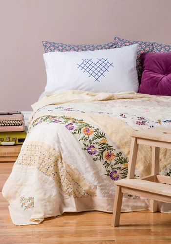 Guest Sweet Quilt in Queen/King by Karma Living - Cotton, Woven, Cream, Boho, Vintage Inspired, French / Victorian, Best, Floral, Embroidery, Eyelet, Dorm Decor