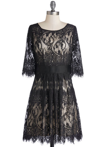 Highest Praise Dress by BB Dakota - Mid-length, Sheer, Woven, Black, Tan / Cream, Lace, Party, A-line, 3/4 Sleeve, Better, Scoop, Cocktail, Holiday Party, Vintage Inspired, 20s, 30s, Lace