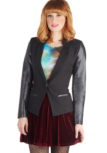 What's the Scoot? Blazer - Faux Leather, Woven, 2, Black, Solid, Pockets, Party, Long Sleeve, Mid-length, Black, Long Sleeve