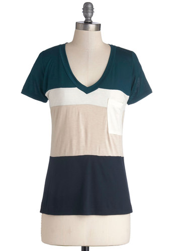 Simply Styled Top in Stripes - Knit, Mid-length, Jersey, Blue, Tan / Cream, Stripes, Pockets, Casual, Short Sleeves, Good, V Neck, Multi, Green, White, Colorblocking, Variation, Multi, Short Sleeve