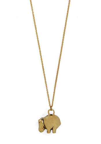 Hippo-M-G Necklace - Print with Animals, Gold, Better