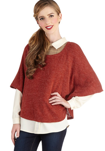 Depeche Road Cape - Orange, Solid, Short Sleeves, Good, Mid-length, Knit, Minimal, Fall, Orange, Short Sleeve