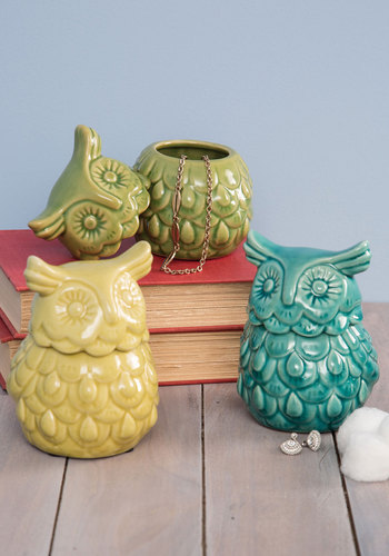 Hoots the Boss? Container - Multi, Boho, Owls, Good, Yellow, Green, Blue, Vintage Inspired, Fall, Hostess, Critters, Woodland Creature