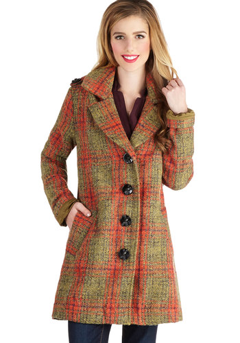 Evening Excursion Coat by Nick & Mo - Long, 3, Plaid, Buttons, Pockets, Vintage Inspired, Button Down, Long Sleeve, Better, Collared, Epaulets, 60s, 70s, Orange, Multi