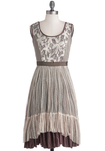 Chic Mythology Dress by Ryu - Brown, Crochet, Lace, Sequins, Boho, A-line, Sleeveless, Better, Scoop, Mid-length, Woven, Tan / Cream, Casual