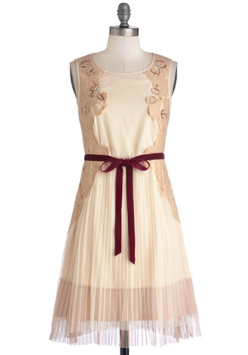 Front Row Sweet Dress by Ryu - Cream, Lace, Pleats, A-line, Sleeveless, Better, Scoop, Mid-length, Woven, Red, Party, Tan / Cream, Beads, Rhinestones, Belted, Fairytale, Holiday Party