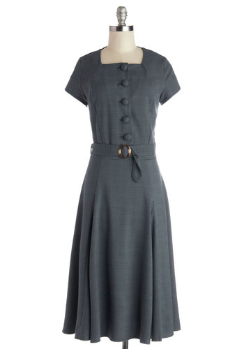 Admirable Administrator Dress - Blue, Houndstooth, Buttons, A-line, Cap Sleeves, Better, Long, Woven, Belted, Work, 40s