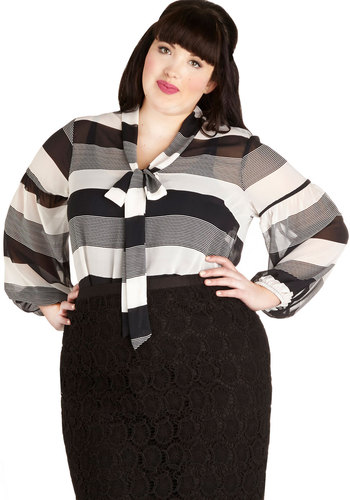 Brunch with the Band Top in Plus Size - Chiffon, Sheer, Woven, Black, White, Stripes, Tie Neck, Work, Long Sleeve