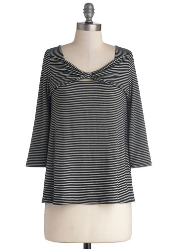 Saturday Scavenger Hunt Top - Black, White, Stripes, Bows, Casual, Long Sleeve, Better, Knit, Black, 3/4 Sleeve, Mid-length