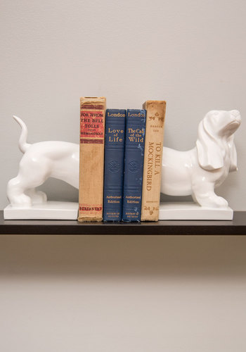 Hound About That Bookends - White, Dorm Decor, Quirky, Better, Solid, Print with Animals