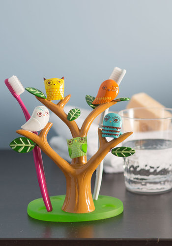Go Brush Your Tree-th Toothbrush Holder - Multi, Orange, Yellow, Green, Blue, Brown, White, Owls, Dorm Decor, Best Seller, Best Seller, Quirky, Good, Top Rated
