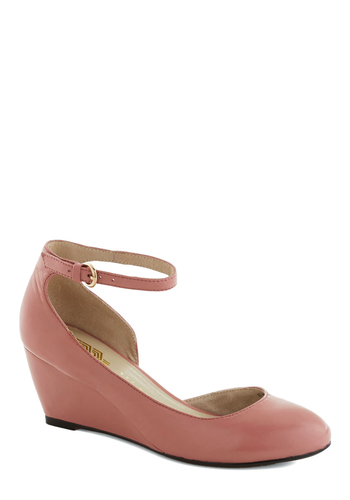 Stylish Steps Wedge in Rose - Pink, Solid, Work, Wedge, Leather, Mid, Pastel, Minimal, Mary Jane, Variation