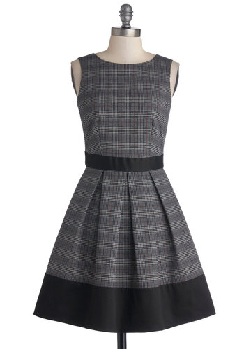 Teal Away Dress in Check - Grey, Red, Black, Plaid, Scholastic/Collegiate, A-line, Sleeveless, Better, Party, Exposed zipper, Pleats, Mid-length, Cotton, Woven, Pockets