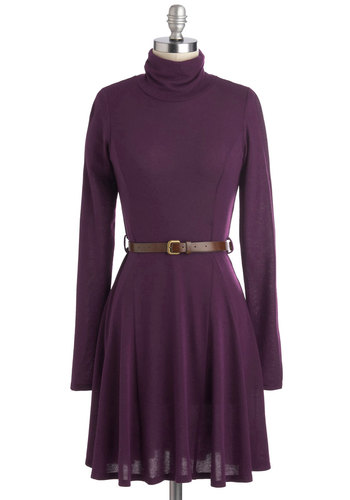 Zinfandel Zeal Dress in Grape - Purple, Solid, Belted, Casual, A-line, Long Sleeve, Good, Mid-length, Knit, Minimal, Variation, Winter, Gifts Sale