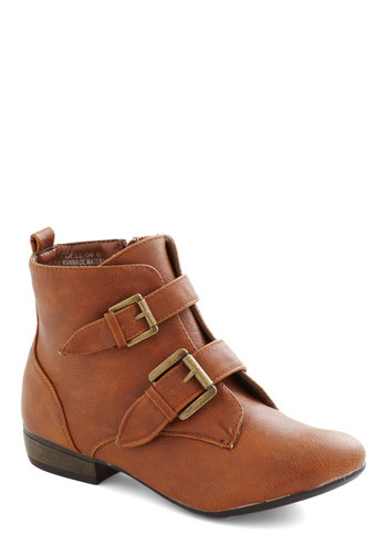 Epilogue Cabin Bootie - Low, Faux Leather, Tan, Solid, Buckles, Good, Gifts Sale