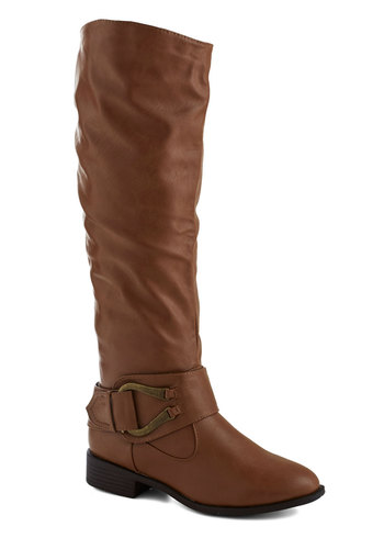 If the Horseshoe Fits Boot - Low, Faux Leather, Solid, Buckles, Good, Brown, Gifts Sale