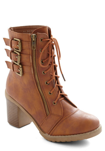 Buckle Downtown Bootie in Whiskey - Mid, Faux Leather, Tan, Solid, Buckles, Exposed zipper, Good, Lace Up, Gifts Sale