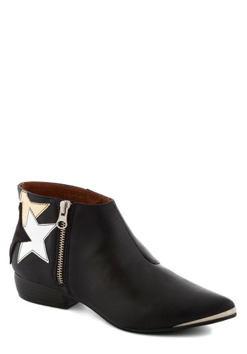 Lucky Starburst Bootie - Low, Leather, Black, Silver, Gold, Solid, Exposed zipper, Better, Gifts Sale