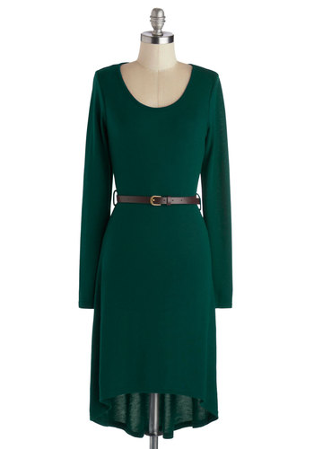 Let's Talk Tech Dress in Pine - Green, Solid, Belted, Casual, Minimal, Shift, Long Sleeve, Good, Knit, Jersey, Mid-length, High-Low Hem, Fall, Scoop, Gifts Sale