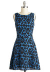 Shifting Shadows Dress - Print, Casual, A-line, Sleeveless, Good, Scoop, Mid-length, Woven, Blue, Black, 90s