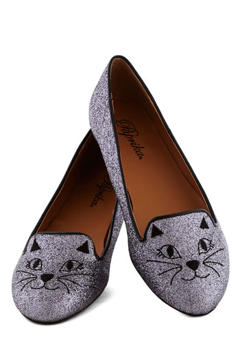 Feline Dazzling Flat - Flat, Silver, Print with Animals, Glitter, Quirky, Cats, Good, Gifts Sale
