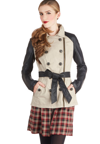 Vogue Voyager Trench - Cotton, Faux Leather, Woven, 1, Tan, Buttons, Exposed zipper, Pockets, Belted, Urban, Long Sleeve, Collared, Good, Double Breasted, Mid-length, Gifts Sale, Brown, Winter