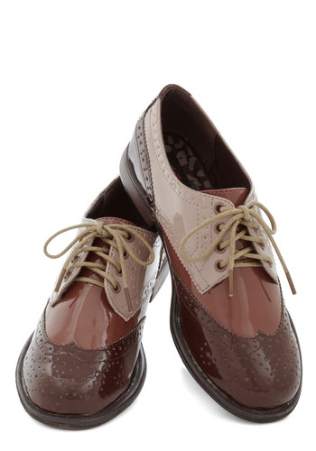 Era of Individuals Flat in Cinnamon - Low, Faux Leather, Brown, Tan / Cream, Solid, Menswear Inspired, Colorblocking, Lace Up, Variation, Gifts Sale