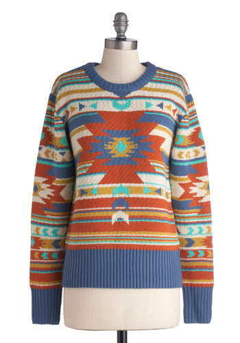 Join the Jamboree Sweater - Multi, Casual, Long Sleeve, Mid-length, Knit, Print, Exclusives, Crew, Vintage Inspired, Rustic, Better, Multi, Long Sleeve, Gifts Sale