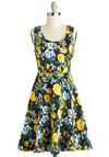 Save the Bouquet Dress - Yellow, Black, Blue, White, Floral, Casual, A-line, Tank top (2 thick straps), Good, Scoop, Mid-length, Woven, Cotton, Gifts Sale