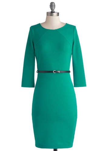 Top of the Tuesday Dress - Green, Solid, Belted, Casual, Sheath / Shift, 3/4 Sleeve, Good, Scoop, Mid-length, Knit, Exposed zipper, Work, Gifts Sale