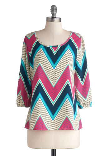 Easy Come, Easy Glow Top - Mid-length, Woven, Chevron, Scoop, Multi, 3/4 Sleeve, Party, Casual, Vintage Inspired, 70s, Better, Multi, 3/4 Sleeve, Gifts Sale