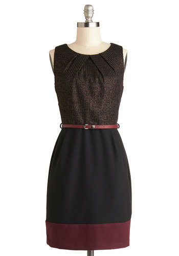 Cosmopolitan Concierge Dress in Burgundy - Black, Red, Gold, Herringbone, Belted, Cocktail, Shift, Sleeveless, Good, Scoop, Mid-length, Knit, Woven, Pockets, Work, Gifts Sale