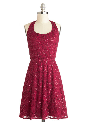 Mulled Wine Party Dress - Solid, Bows, Sequins, Holiday Party, A-line, Sleeveless, Better, Scoop, Mid-length, Knit, Red, Party, Gifts Sale, Lace