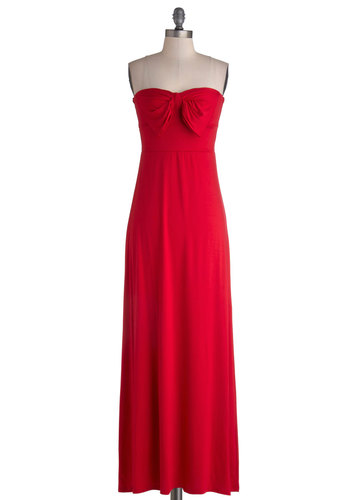 Long Weekend Away Dress in Red - Red, Solid, Bows, Casual, Maxi, Strapless, Good, Sweetheart, Long, Jersey, Knit, Gifts Sale, Cover-up