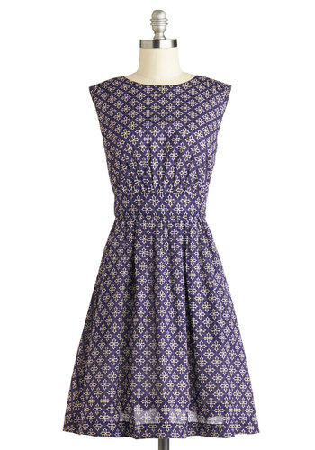 Too Much Fun Dress in Tile by Emily and Fin - Mid-length, Cotton, Woven, Purple, Tan / Cream, Print, Casual, A-line, Sleeveless, Better, International Designer, Exclusives, Variation, Gifts Sale, Work