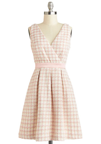 Tweed All About It Dress - Mid-length, Woven, Pink, Tan / Cream, Pleats, Daytime Party, A-line, Sleeveless, Better, V Neck, Plaid, Pastel, Winter, Gifts Sale