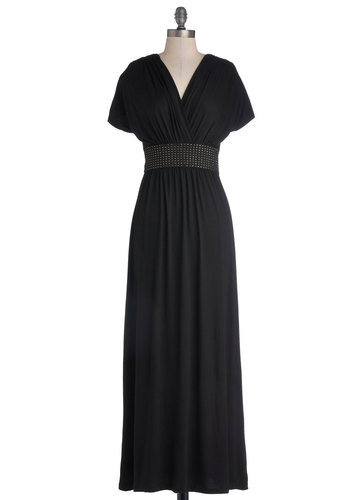 Wow Arriving Dress - Black, Gold, Solid, Beads, Party, Maxi, Cap Sleeves, Good, V Neck, Long, Jersey, Knit, Gifts Sale