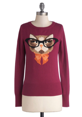 Cat Eyeglasses Sweater in Plum by Louche - Mid-length, Cotton, Knit, Purple, Print with Animals, Cats, Long Sleeve, Better, Quirky, Variation, Crew, Gifts Sale, Purple, Long Sleeve