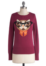 Cat Eyeglasses Sweater in Plum