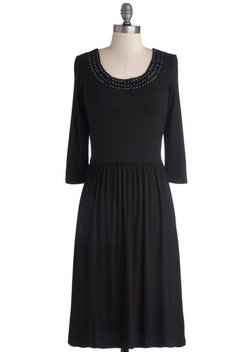 Humble Hostess Dress - Black, Solid, Beads, Party, A-line, Long Sleeve, Good, Scoop, Long, Jersey, Knit, Gifts Sale