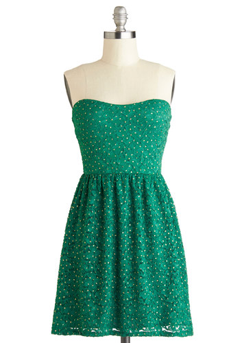 Glittering Emerald Dress - Green, Gold, Lace, Party, Holiday Party, A-line, Strapless, Good, Sweetheart, Mid-length, Knit, Glitter, Gifts Sale, Prom